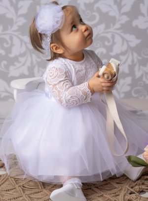 robe de baptême manches dentelle