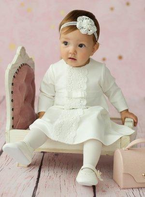 robe de baptême hiver manches longues avec dentelle