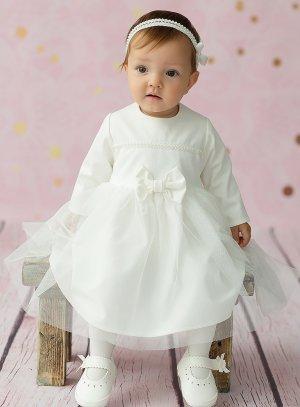 Robe baptême bébé hiver tulle et noeud