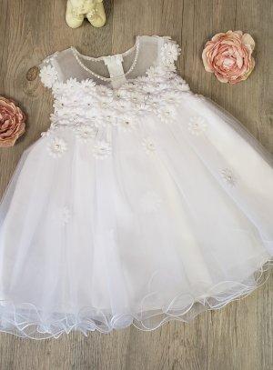 Robe de baptême bébé fille Méllonie avec paquerette