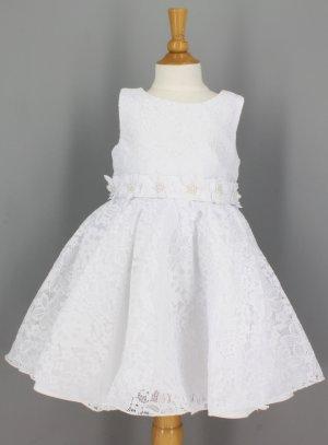 Robe de baptême pour petite fille dentelle blanche