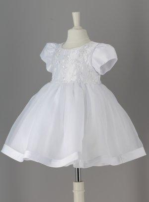 Robe baptême bébé fille princesse manches courtes