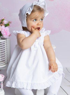 Robe de baptême Rosie avec culotte et béguin