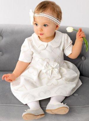 robe mariage baptême bébé ivoire avec coeur