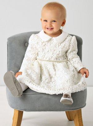 Robe bébé mariage dentelle crochet ivoire
