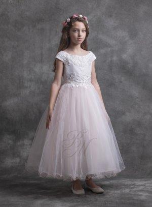 Robe cérémonie mariage fille rose pale