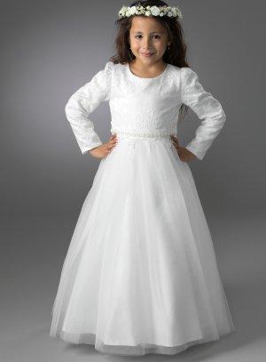 Robe cérémonie mariage communion avec manches pour enfant