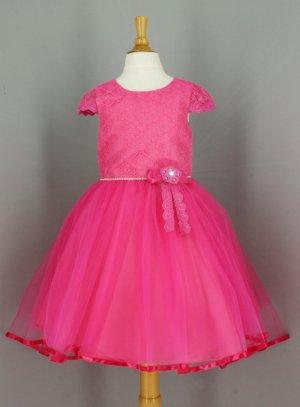 robe de cérémonie fille rose fushia