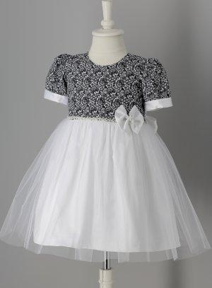 Robe fille mariage noir et blanche manches courtes léonie