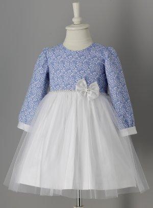 robe mariage fille manches longues blanche et bleu roy enfant