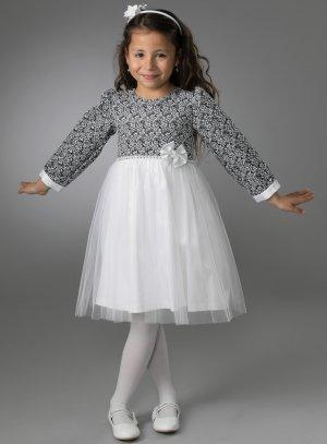 robe de cérémonie fille blanc et noir pour mariage