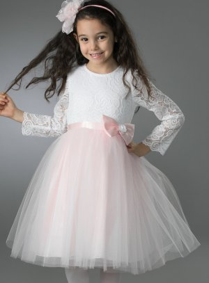 robe princesse fille mariage rose paillette dentelle