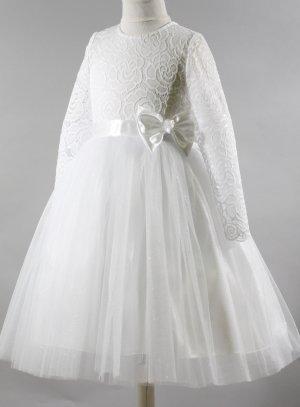 Robe cérémonie fille blanche manches longues dentelle