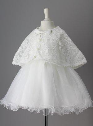 Robe cérémonie avec cape petite fille mariage baptême ivoire