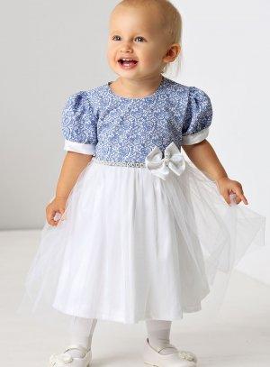 robe cérémonie bébé petite fille mariage baptême blanche et bleu royal