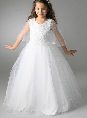 robe de communion blanche avec cape pour fille Alexandra