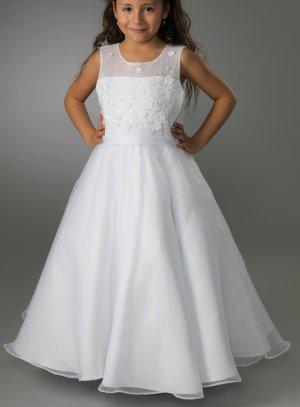 Robe communion longue blanche pour jeune fille