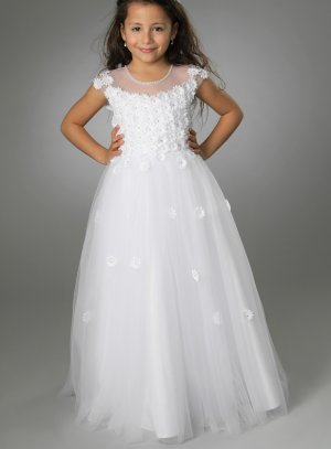 Robe de communion blanche avec fleurs