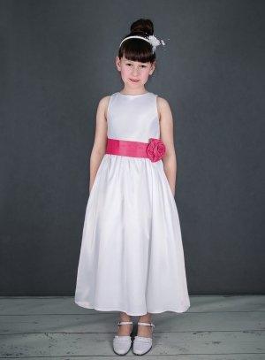 bd15696da2e67 Robe mariage fille LIA en satin avec ceinture couleurs au choix