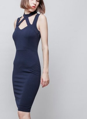 robe de soirée courte bleu marine