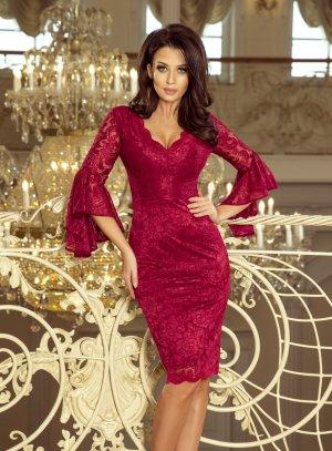 robe de soirée dentelle bordeaux manches longues pour femme