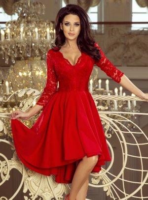 robe de soirée manches dentelle rouge femme