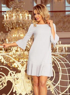robe soirée courte tunique manches 3/4 gris perle