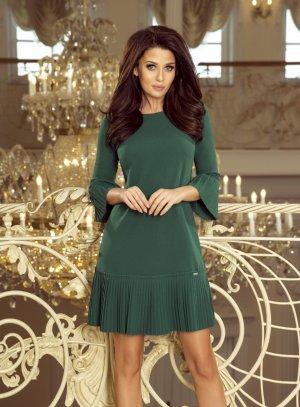 robe soirée courte tunique manches 3/4 verte