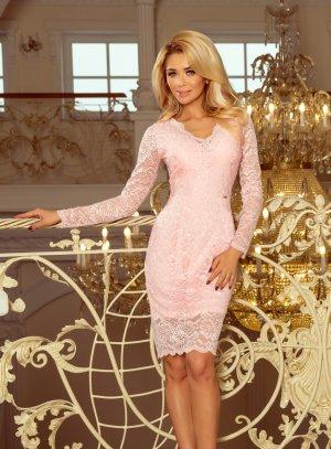 robe soiree femme manche longue dentelle rose pastel