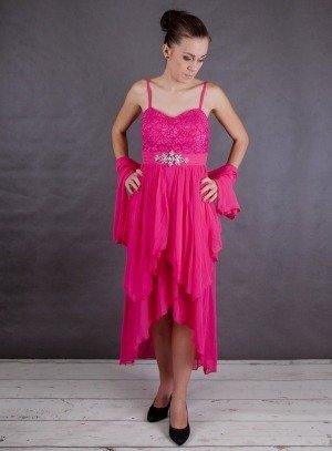 robe de soirée courte rose fushia