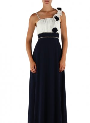 Robe demoiselle d'honneur longue pour femme bleu marine