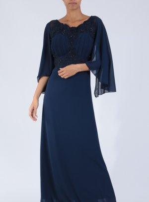 Robe mariage soirée longue femme grande taille manches 3/4 bleu marine