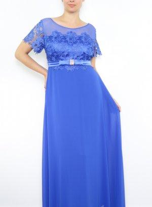 Robe soirée mariage longue femme grande taille dentelle bleu roy