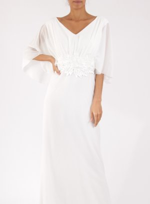 Robe mariage remariage longue femme grande taille ivoire