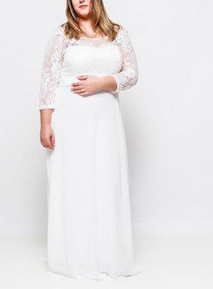 robe soirée longue femme ivoire - ecru