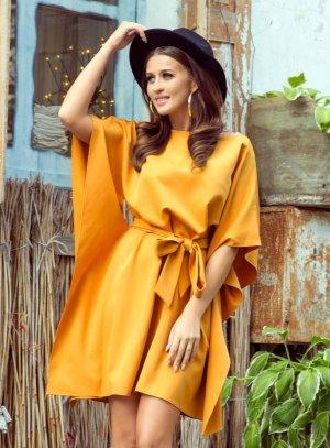 robe soirée courte femme moutarde