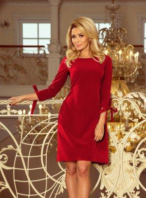 robe habillée bordeaux manches longues femme