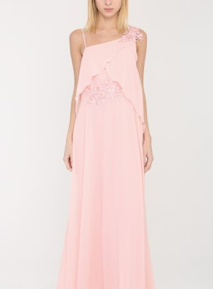 robe mariage femme longue rose poudre