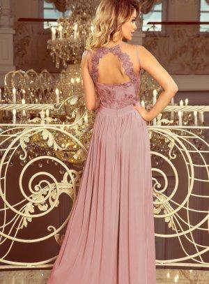 robe demoiselle d'honneur femme mariage dentelle vieux rose