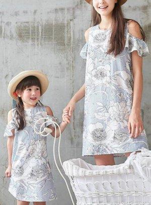 Robe mère et fille en coton imprimé noir
