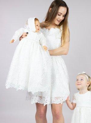 robe cérémonie mère fille ivoire - ecru