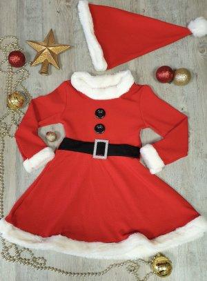 Robe mère Noël fille + bonnet