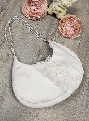 Sac à main mariage écru demi-lune avec dentelle et anses perles