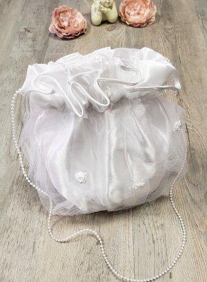 aumonière sac communion, bourse blanche blanc