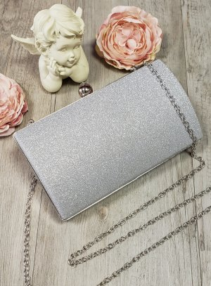 sac de soirée clutch gris argent paillette