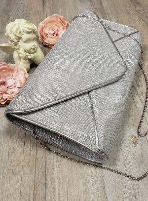 pochette de soirée, sac habillé gris argent