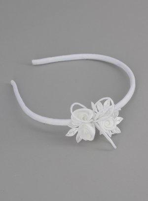 serre tête cérémonie enfant avec fleurs tissu