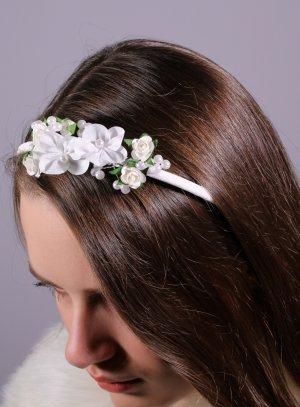 serre tête avec fleurs coiffure mariage cérémonie communion enfant