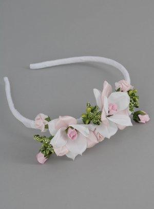 serre tête coiffure mariage enfant fleurs roses
