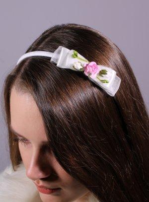 serre tête cérémonie enfant noeud avec fleurs